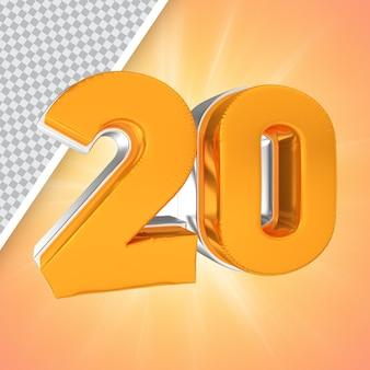 Nummer 20 gold 3d-rendering-banner
