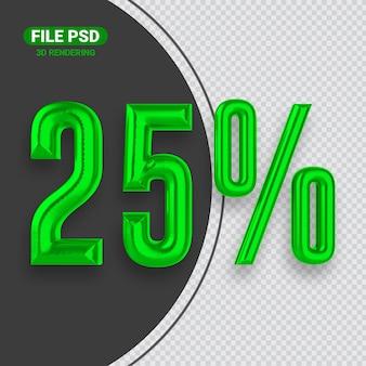 Nummer 25 grünes 3d-rendering-banner