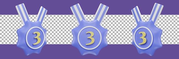 Nummer 3 medaillensymbol in verschiedenen ansichten. 3d-rendering
