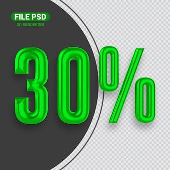 Nummer 30 grünes 3d-rendering-banner