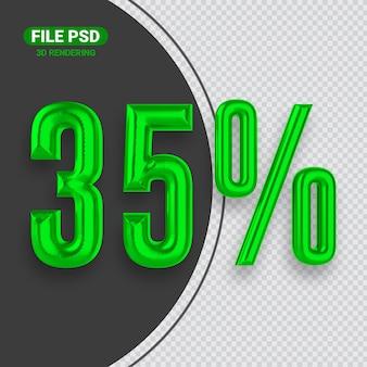Nummer 35 grünes 3d-rendering-banner