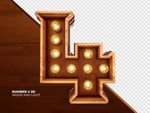 Nummer 4 3d-renderholz mit realistischen lichtern