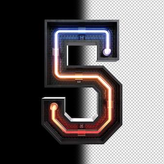 Nummer 5 aus neonlicht