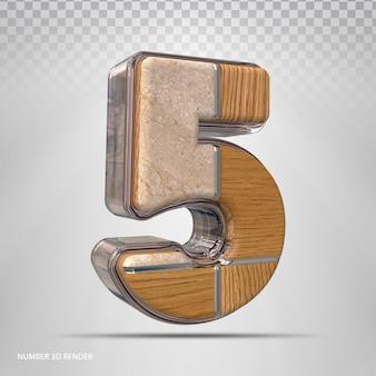 Nummer 5 konzept stil holz 3d render