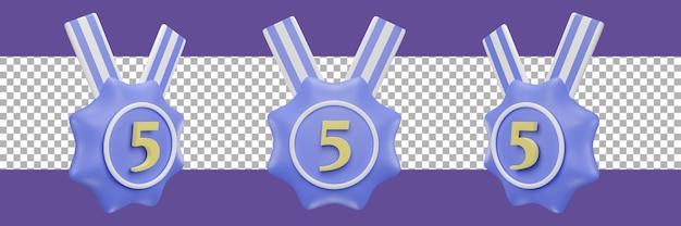 Nummer 5 medaillensymbol in verschiedenen ansichten. 3d-rendering