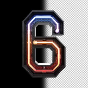 Nummer 6 aus neonlicht