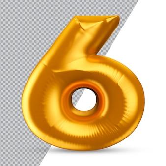Nummer 6 gold 3d-rendering