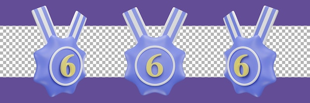 Nummer 6-medaillensymbol in verschiedenen ansichten. 3d-rendering