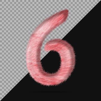 Nummer 6 mit realistischem 3d-fell