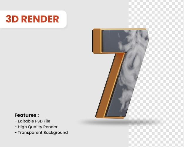 Nummer 7 3d-render isoliert mit schwarz-weißer marmorstruktur