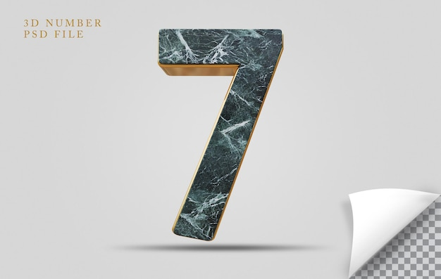 Nummer 7 3d-render-texturstein mit goldenem