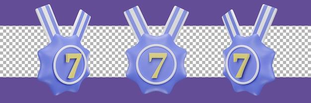 Nummer 7-medaillensymbol in verschiedenen ansichten. 3d-rendering