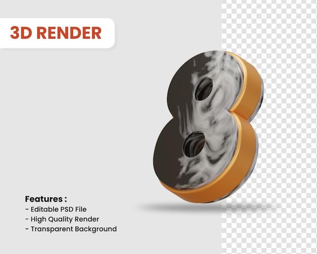 Nummer 8 3d-render isoliert mit schwarz-weißer marmorstruktur