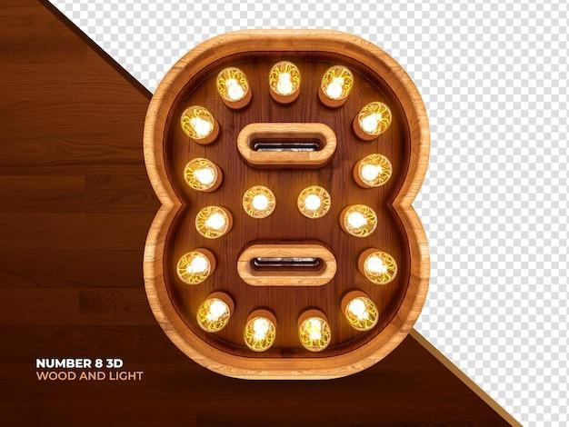 Nummer 8 3d-renderholz mit realistischen lichtern