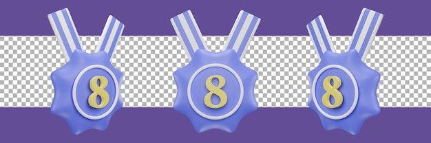 Nummer 8 medaillensymbol in verschiedenen ansichten. 3d-rendering
