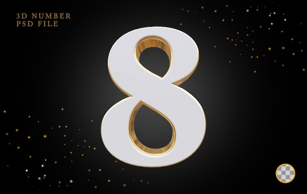 Nummer 8 mit goldenem 3d-rendering