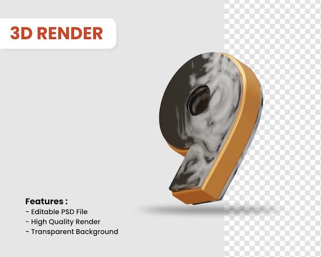 Nummer 9 3d-render isoliert mit schwarz-weißer marmorstruktur