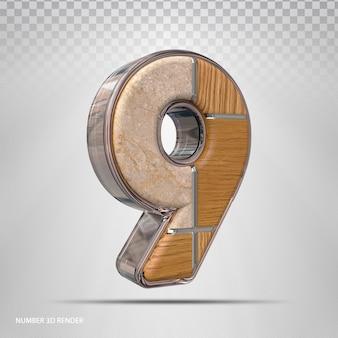 Nummer 9 konzept stil holz 3d render