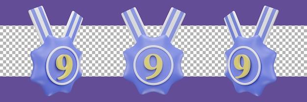 Nummer 9-medaillensymbol in verschiedenen ansichten. 3d-rendering