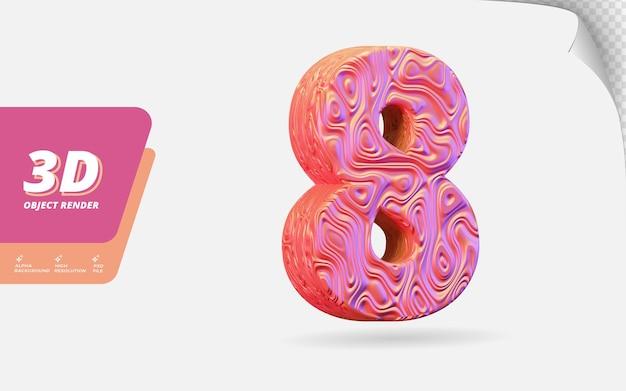 Nummer acht, nummer 8 in 3d-render isoliert mit abstrakter topografischer roségold-wellenstruktur-designillustration Premium PSD