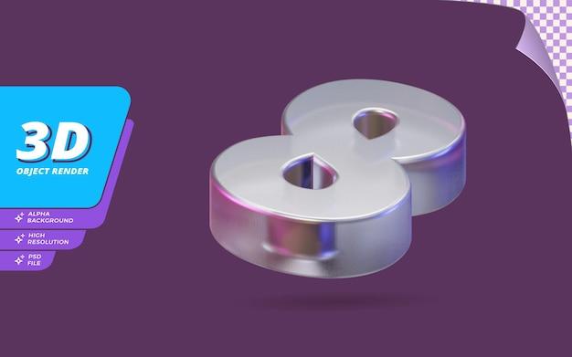 Nummer acht, nummer 8 in 3d-rendering isoliert mit abstrakter metallischer glaskristallstruktur-designillustration