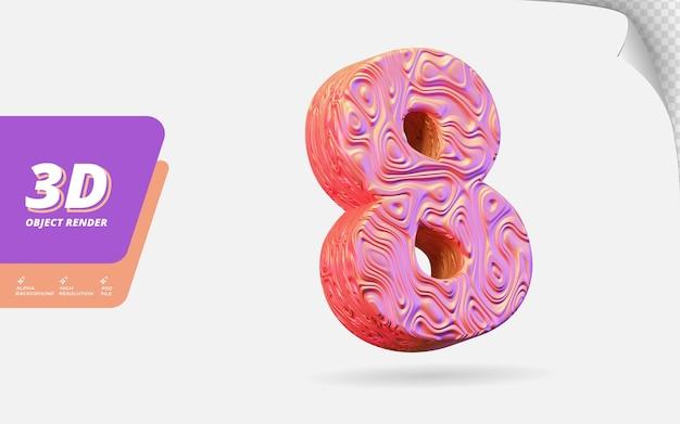 Nummer acht, nummer 8 in 3d-rendering isoliert mit abstrakter topografischer roségold-wellenstruktur-designillustration