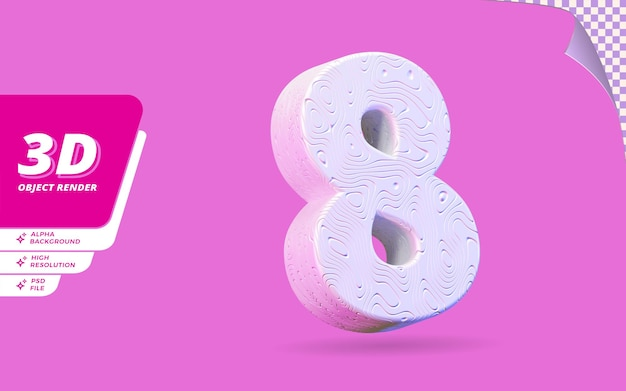 Nummer acht, nummer 8 in 3d-rendering isoliert mit abstrakter topografischer weißer wellenförmiger textur-designillustration