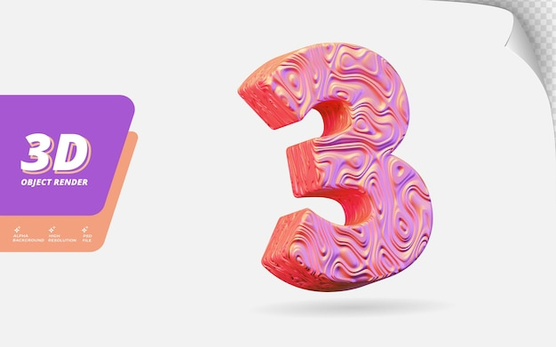 Nummer drei, nummer 3 in 3d-render isoliert mit abstrakter topografischer roségold-wellenstruktur-designillustration