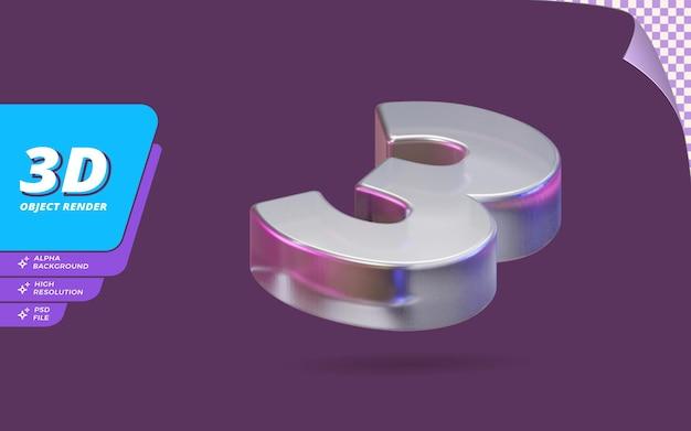 Nummer drei, nummer 3 in 3d-rendering isoliert mit abstrakter metallischer glaskristallstruktur-designillustration