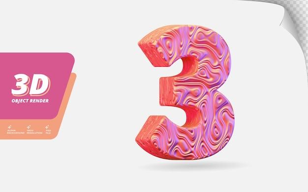 Nummer drei, nummer 3 in 3d-rendering isoliert mit abstrakter topografischer roségold-wellenstruktur-designillustration