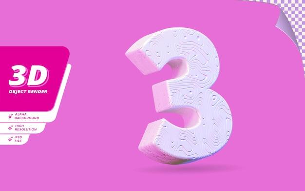 Nummer drei, nummer 3 in 3d-rendering isoliert mit abstrakter topografischer weißer wellenförmiger textur-designillustration