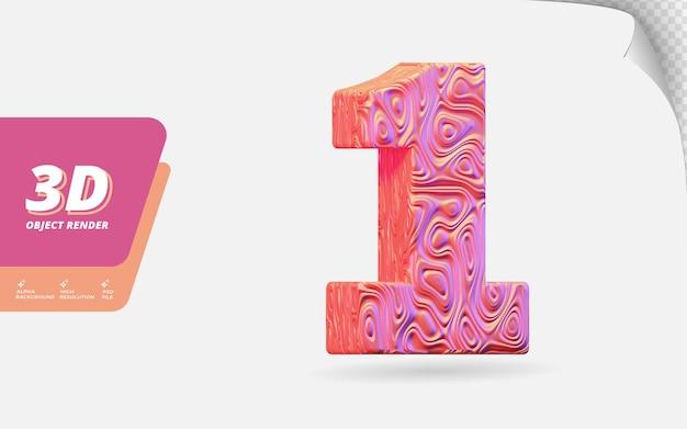 Nummer eins, nummer 1 in 3d-rendering isoliert mit abstrakter topografischer roségold-wellenstruktur-designillustration