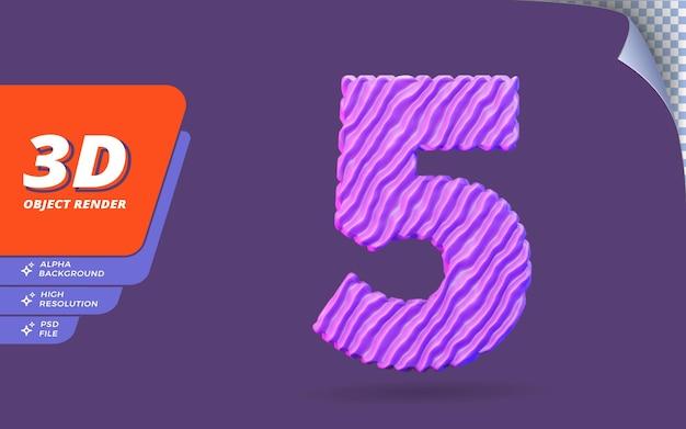Nummer fünf, nummer 5 in 3d-render isoliert mit abstrakter topografischer lila drahtstruktur-designillustration