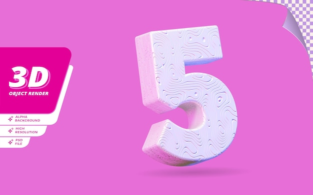 Nummer fünf, nummer 5 in 3d-render isoliert mit abstrakter topografischer weißer wellenförmiger textur-designillustration