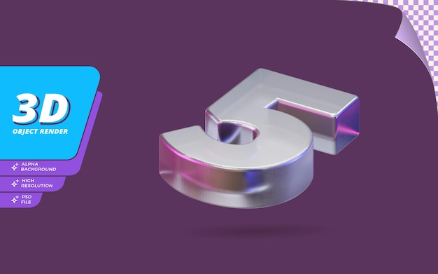 Nummer fünf, nummer 5 in 3d-rendering isoliert mit abstrakter metallischer glaskristallstruktur-designillustration