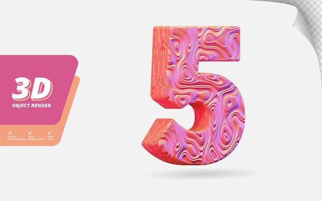 Nummer fünf, nummer 5 in 3d-rendering isoliert mit abstrakter topografischer roségold-wellenstruktur-designillustration