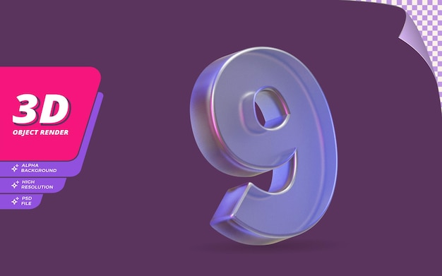 Nummer neun, nummer 9 in 3d-rendering isoliert mit abstrakter metallischer glaskristallstruktur-designillustration