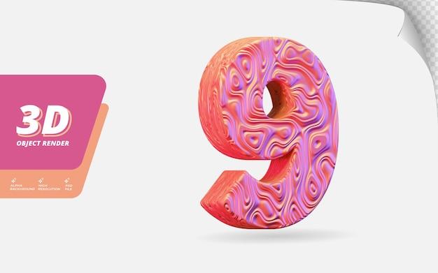Nummer neun, nummer 9 in 3d-rendering isoliert mit abstrakter topografischer roségold-wellenstruktur-designillustration