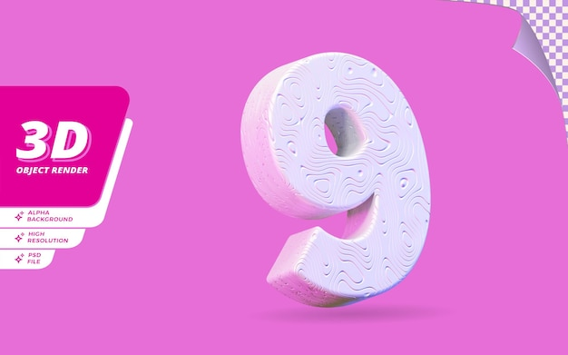 Nummer neun, nummer 9 in 3d-rendering isoliert mit abstrakter topografischer weißer wellenförmiger textur-designillustration