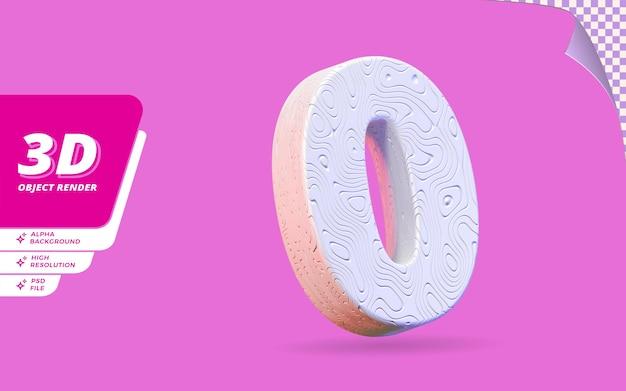 Nummer null, nummer 0 in 3d-render isoliert mit abstrakter topografischer weißer wellenförmiger textur-designillustration