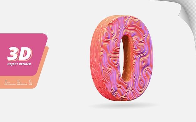 Nummer null, nummer 0 in 3d-rendering isoliert mit abstrakter topografischer roségold-wellenstruktur-designillustration