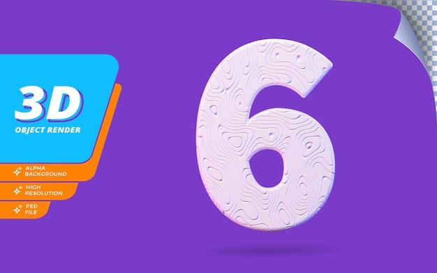 Nummer sechs, nummer 6 in 3d-render isoliert mit abstrakter topografischer weißer wellenförmiger textur-designillustration