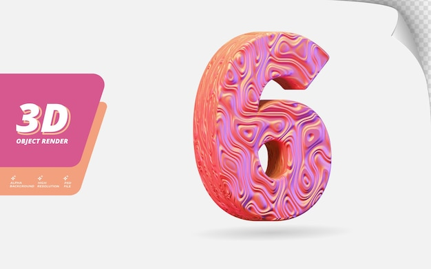 Nummer sechs, nummer 6 in 3d-rendering isoliert mit abstrakter topografischer roségold-wellenstruktur-designillustration