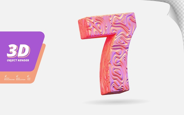 Nummer sieben, nummer 7 in 3d-rendering isoliert mit abstrakter topografischer roségold-wellenstruktur-designillustration