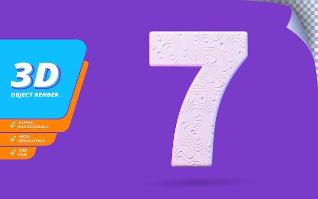 Nummer sieben, nummer 7 in 3d-rendering isoliert mit abstrakter topografischer weißer wellenförmiger textur-designillustration