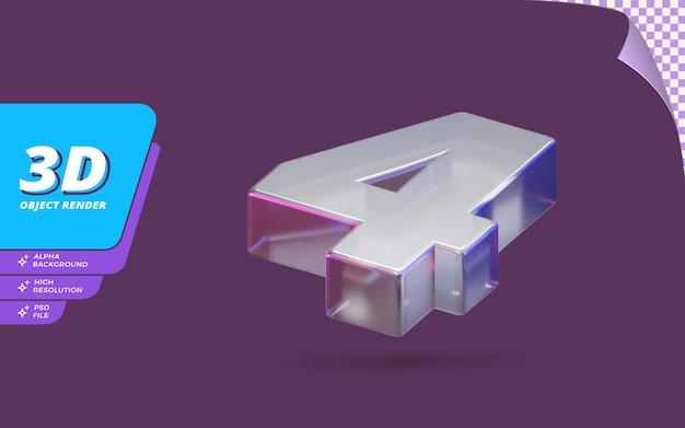 Nummer vier, nummer 4 in 3d-render isoliert mit abstrakter metallischer glaskristallstruktur-designillustration