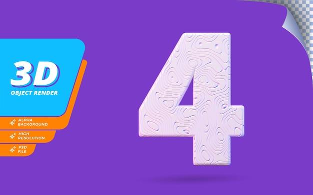 Nummer vier, nummer 4 in 3d-render isoliert mit abstrakter topografischer weißer wellenförmiger textur-designillustration