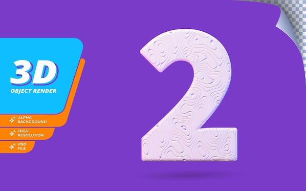 Nummer zwei, nummer 2 in 3d-render isoliert mit abstrakter topografischer weißer wellenförmiger textur-designillustration