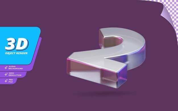 Nummer zwei, nummer 2 in 3d-rendering isoliert mit abstrakter metallischer glaskristallstruktur-designillustration