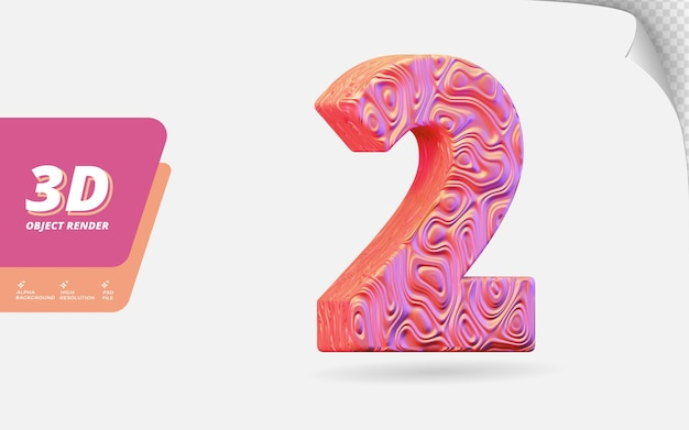 Nummer zwei, nummer 2 in 3d-rendering isoliert mit abstrakter topografischer roségold-wellenstruktur-designillustration